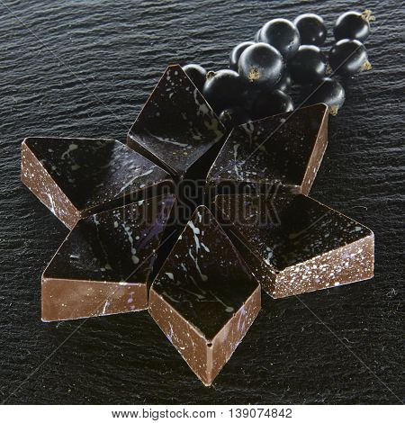 Set of chocolate candie with black currants, chocolate collection
