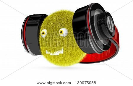 hairy monster with big headphones on white background 3d render