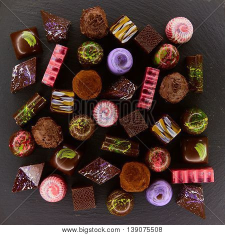 Set of chocolate candie, chocolate collection. Top view