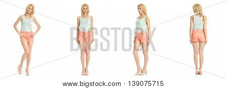 Beautiful Blonde Woman In Shorts Isolated Over White