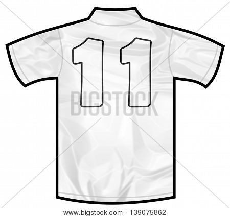 Number 11 eleven white sport shirt as a soccer, hockey, basket, rugby, baseball, volley or football team t-shirt. Like German or England or USA national team
