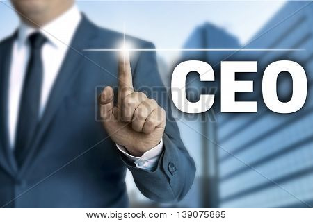 ceo touchscreen is operated by businessman background