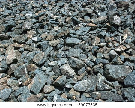 Calcareous crushed stone of gray color of the different size