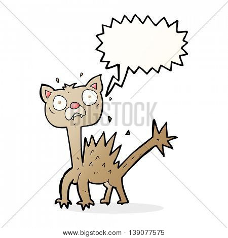 cartoon scared cat with speech bubble