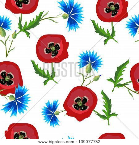 Floral seamless pattern with red poppies and blue cornflowers.Bright flowers on a white background.Summer vector illustration. Can be used for textilefabricwrapping paper.