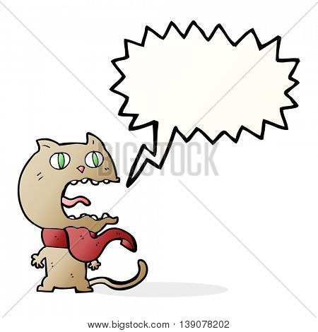 cartoon frightened cat with speech bubble