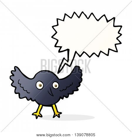 cartoon crow with speech bubble