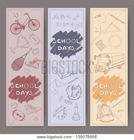 Three banners with school related hand drawn sketches. Features school bus, backpack, apple, sports equipment, stationery and more. Vector Illustration.