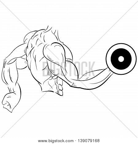 Sketch of Man with dumbbell black and white sketch strongman