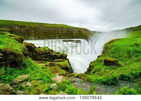 Gullfoss Waterfalls in the canyon of the Hvita River Iceland