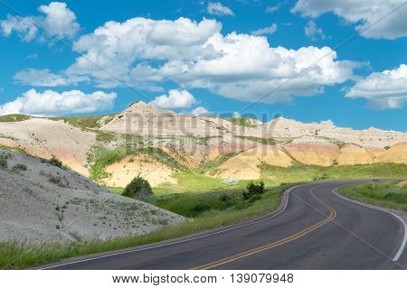 The naturally colorful landscape of the Badlands.