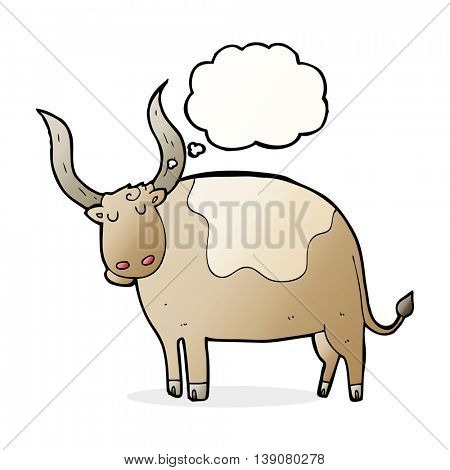 cartoon ox with thought bubble
