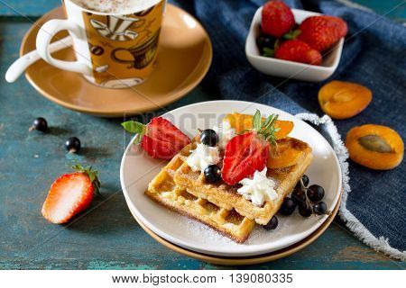 Traditional Belgian Waffles With Cream Whipped Cream And Fresh Berries On A Vintage Background, Serv