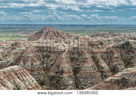 Dramatic scenery of the Badlands in South Dakota.