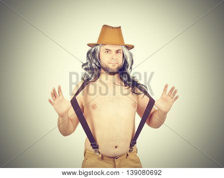 Funny Man In Hat Topless