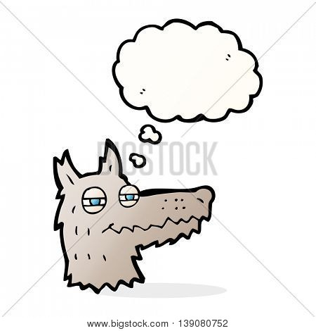 cartoon smug wolf face with thought bubble