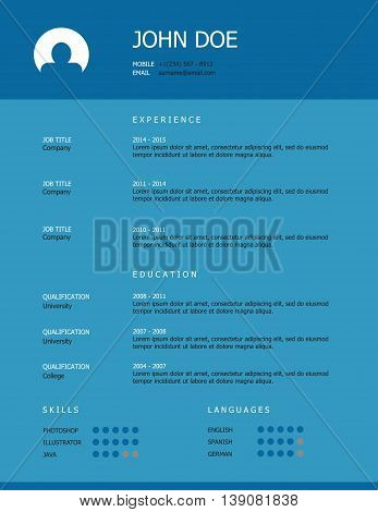 Professional simple styled resume template design with blue heading on turquoise background.