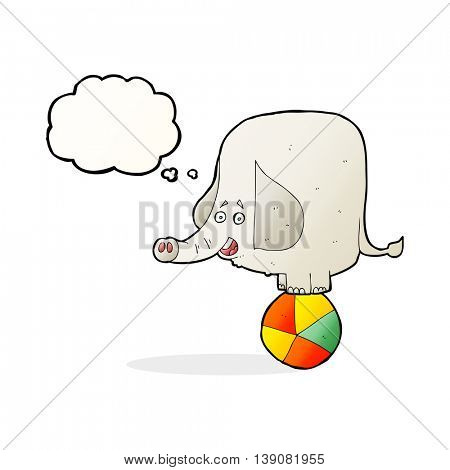 cartoon circus elephant with thought bubble