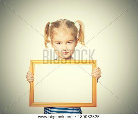 Little Funny Girl With Blackboard.