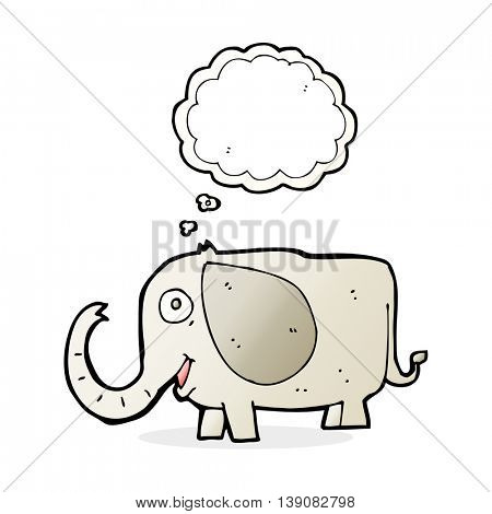 cartoon baby elephant with thought bubble