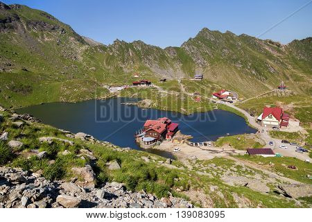 Balea Lake, seen from above. Glacial lake, on Transfagarasan highway,in Carpathian mountains, Romania