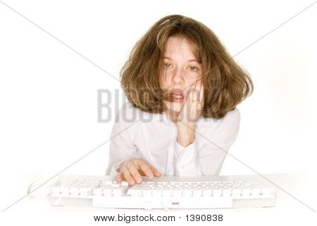 Woman Frustrated With Her Computer