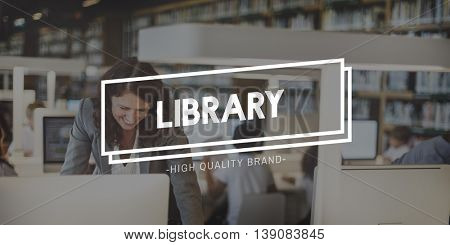 Library Bookcase Bookshelf Education Intelligence Concept