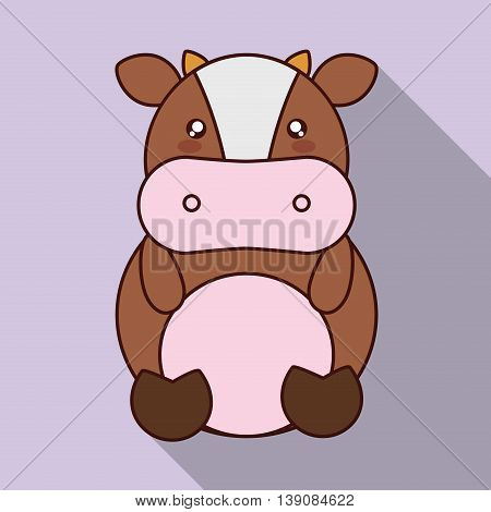 Cute animal design represented by kawaii cow icon. Colorfull and flat illustration.
