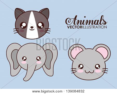 Cute animal design represented by kawaii cat, elephant and mouse icon. Colorfull and flat illustration.