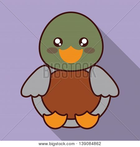 Cute animal design represented by kawaii duck icon. Colorfull and flat illustration.