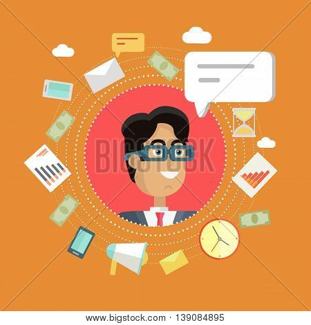 Creative office background. Businessman icon with bubble. Avatars of men with devices for communication. Smiling young man personage in flat on red background. Vector illustration.