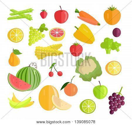 Set of fruits vegetables vector. Flat design. Carrot, pear, apple, cabbage, lemon, grapes corn potatoes banana orange cherry, watermelon grapefruit corn pepper plum, asparagus, strawberries