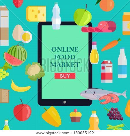 Online food market web banner. Vector in flat design. Illustration of various food and drinks with web page template on tablet screen. Concept for grocery, shop, supermarket, farm site design.