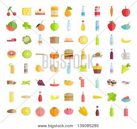Set of food concepts. Fruits, vegetables, meat, sweets, beverages, bread, pizza salads sandwich honey egg sauce milk products for farm, grocery shop food delivery, cafe icon, menu illustrating.