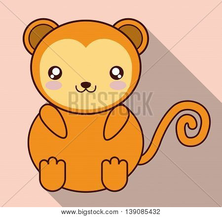Cute animal design represented by kawaii monkey icon. Colorfull and flat illustration.