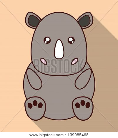 Cute animal design represented by kawaii rhino icon. Colorfull and flat illustration.