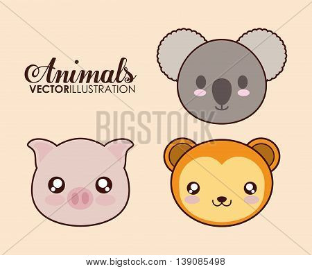 Cute animal design represented by kawaii pig, koala and monkey icon. Colorfull and flat illustration.