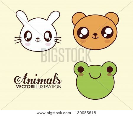 Cute animal design represented by kawaii frog, bear and rabbit icon. Colorfull and flat illustration.