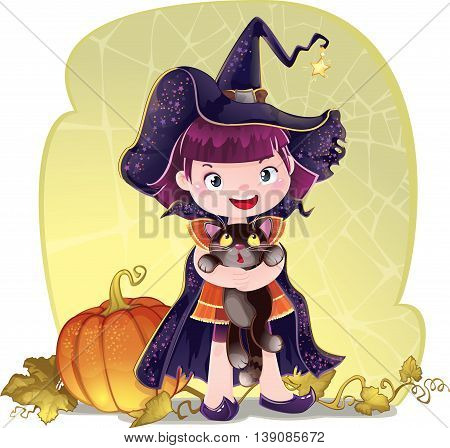 Trick or treat A cute little girl is dressed in a witch costume for Halloween. This image is a easy to edit vector illustration. Image contains gradients transparencies blending modes. EPS 10. Created in Adobe Illustrator.
