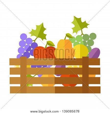 Fresh fruits at the market vector. Flat design. Delivery farm products, grocery store assortment, foods for diet concept. Wooden box full of apple, grape, pears, plums, lemon. Isolated on white