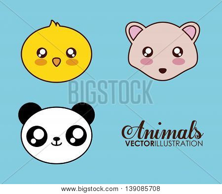 Cute animal design represented by kawaii hedgehog, chicken and panda icon. Colorfull and flat illustration.