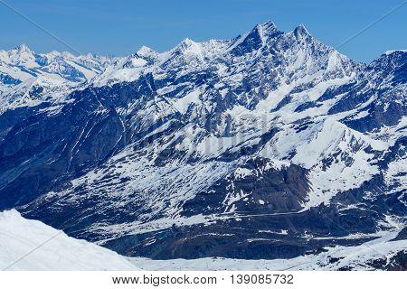 Swiss Alps mountains landscape from Matterhorn in Zermatt Switzerland