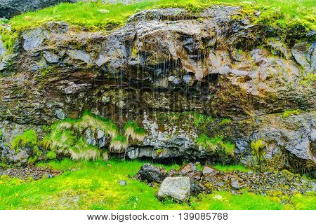 Picture of water seeping through the volcanic rock which is commonly seen at the mountains in Iceland