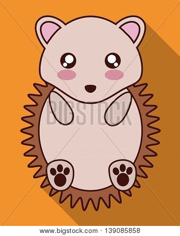 Cute animal design represented by kawaii hedgehog icon. Colorfull and flat illustration.
