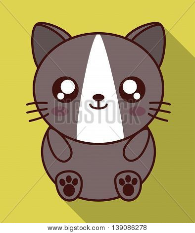 Cute animal design represented by kawaii cat icon. Colorfull and flat illustration.