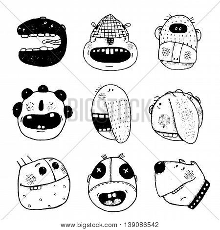 People characters icon collection. Cartoon drawing style, different emotions. Vector monochrome outline illustration. Funny illustrations for modern design, black and white.