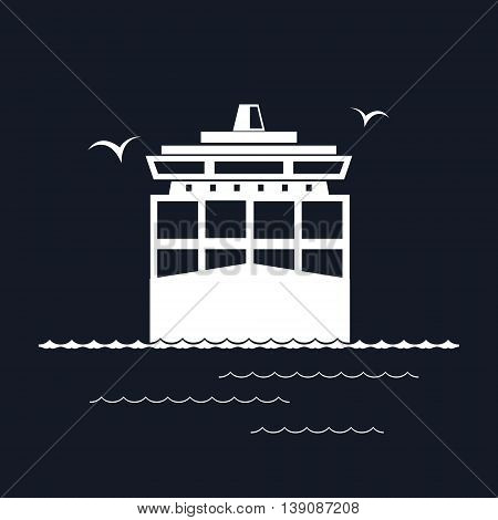 Front View of the Cargo Container Ship Isolated on Black Background, Industrial Marine Vessel with Containers on Board, International Freight Transportation ,Vector Illustration