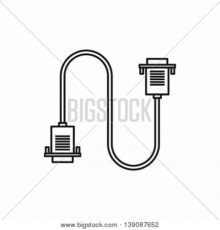 Cable wire computer icon in outline style isolated vector illustration