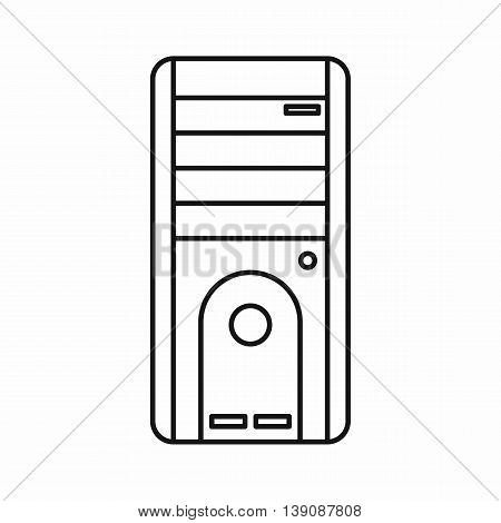 Computer system unit icon in outline style isolated vector illustration