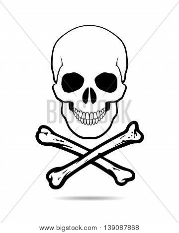 Skull and Crossbones Icon on White Background. Skull and bones - vector illustration. The mark warning of an dangers.